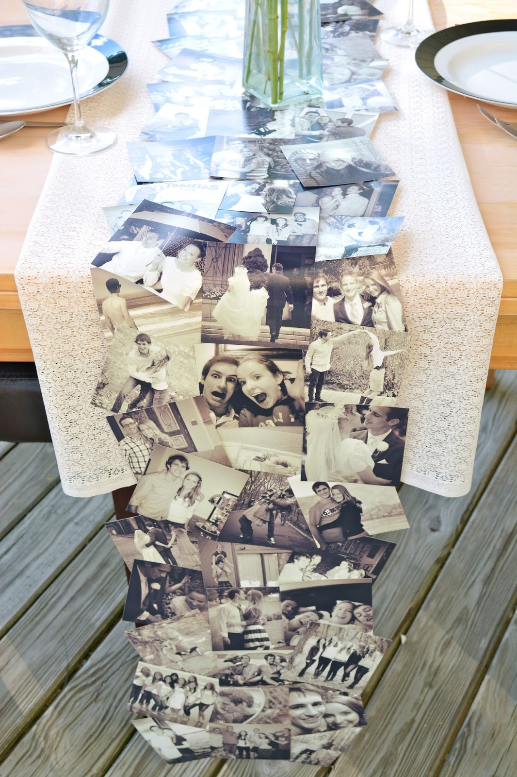 This cute DIY photo runner is perfect for a rehearsal dinner or welcome table  - Anniversary Dinner Decor [with printed instagram photos] by Boston lifestyle blogger Elisabeth McKnight