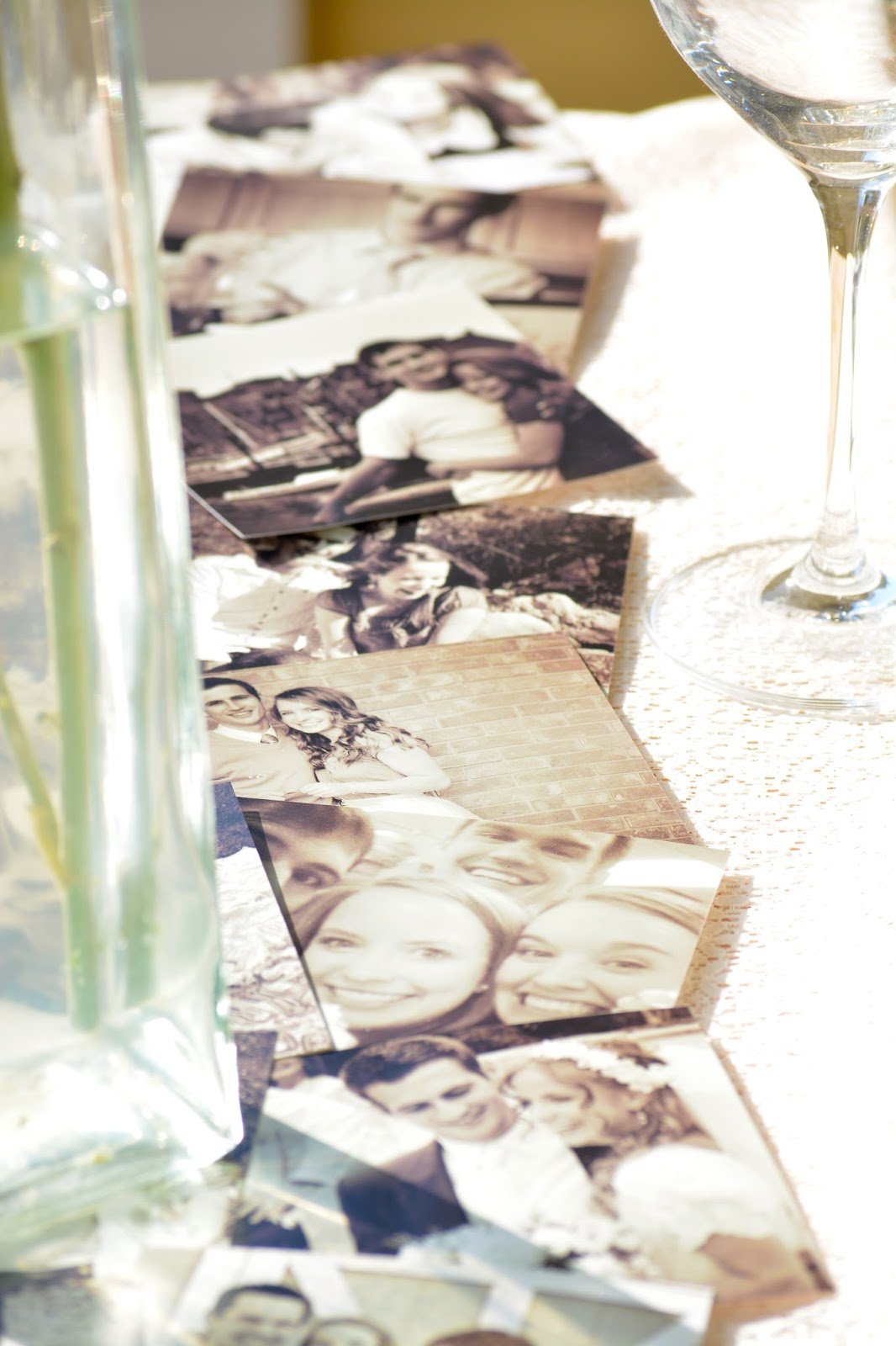 print instagram photos for photo table runner - Anniversary Dinner Decor [with printed instagram photos] by Boston lifestyle blogger Elisabeth McKnight
