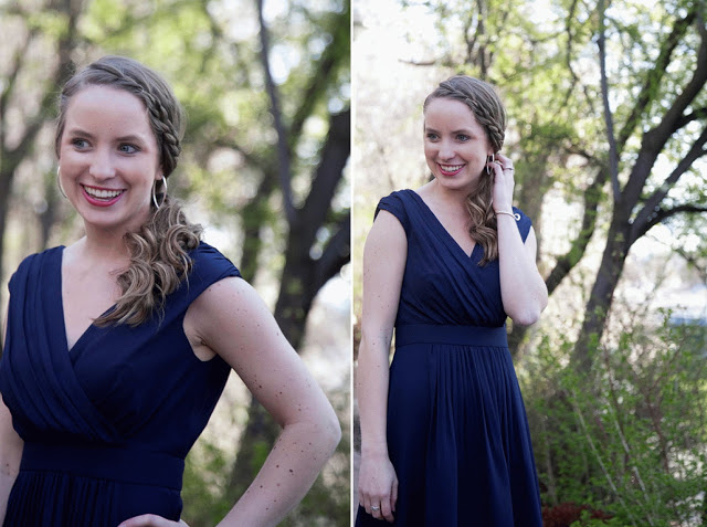 blue modest bridesmaid dress