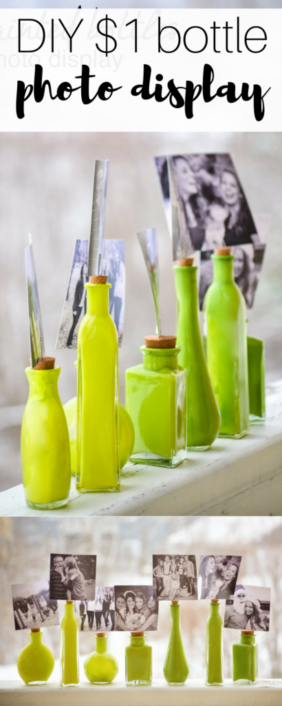 this painted bottle DIY is a cute way to display photos without frames