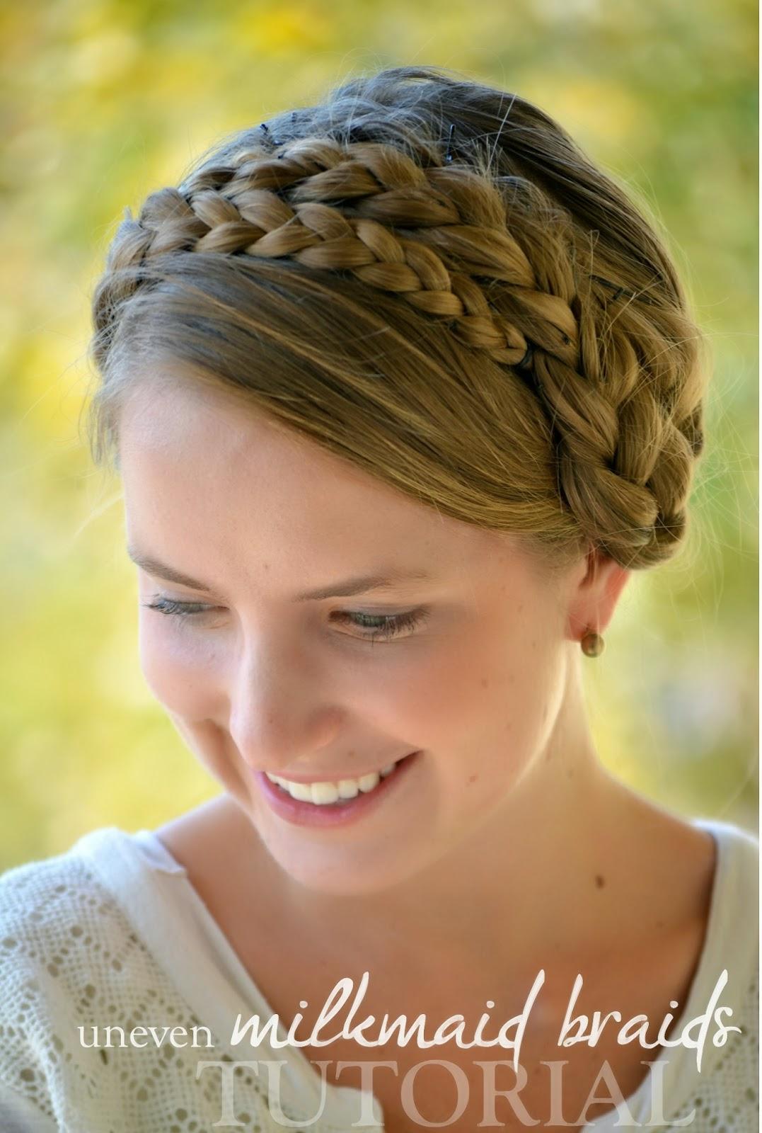 Uneven Milkmaid Braids Tutorial Elisabeth McKnight - Diy hairstyle knotted milkmaid braid