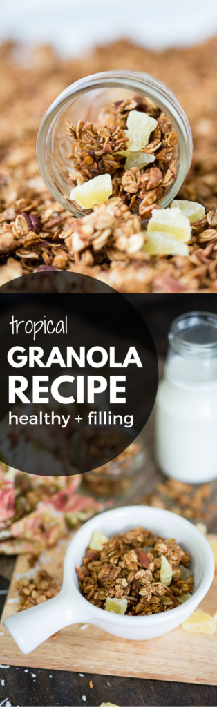 this delicious homemade granola recipe is easy and filling and packed with tropical goodness - perfect for breakfast on the go or over yogurt