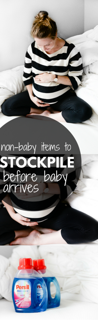 list of household items to stock up on before baby arrives to save you stress + last minute trips to the store with a tiny newborn