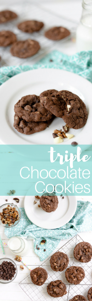 this triple chocolate cookie recipe is as easy as it is delicious. add in chocolate chips, white chocolate chips, and whatever nuts you have on hand and you have the ulltimate panera chocolate duet copycat recipe