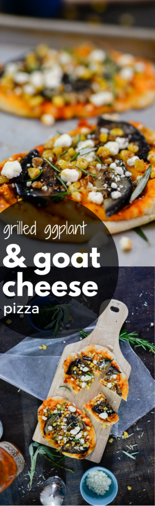 this fresh and easy grilled eggplant pizza with goat cheese is packed with flavor and tastes like a slice of italy (plus, use the tip for going from nothing to dinner in under 15 minutes!)