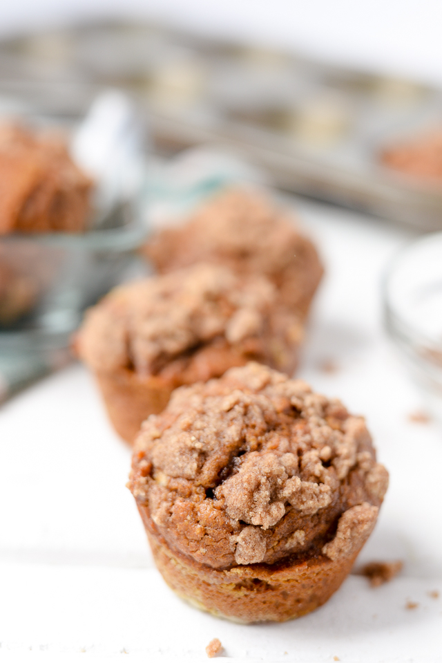 these easy pumpkin muffins are healthy and delicious . the struesel topping in this recipe gives the perfect touch and the muffins come out super moist! perfect for fall and winter.