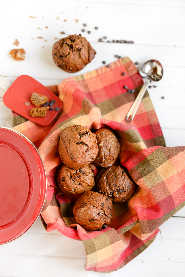 the best chocolate chip pumpkin muffins! the recipe is moist and easy ...and they're delicious even without the chocolate chips.