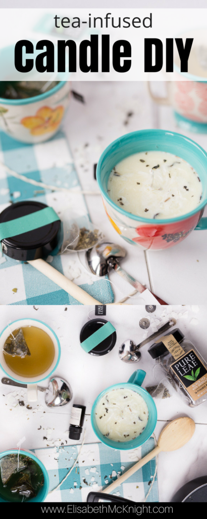 these easy DIY scented mug candles are infused with your favorite tea blend (and how cute is the little teacup?)