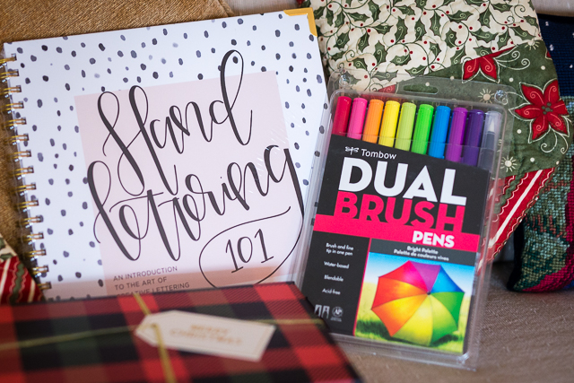 hand lettering work book and brush pens