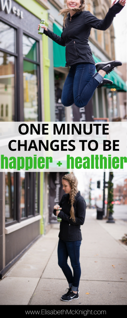 sick of new years resolutions that don't stick? try these one minute changes that are super simple but pack a huge punch. they'll make you a happier + healthier mom (and human), promise.