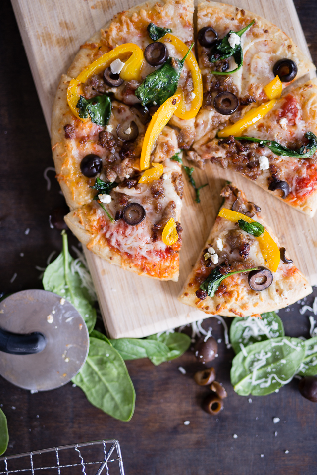 this easy sausage and veggie pizza recipe is perfect for a quiet night in or a big group