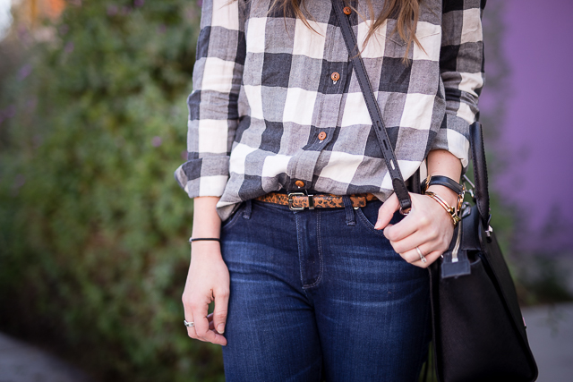 black and white buffalo plaid button down with skinnies and suede flats