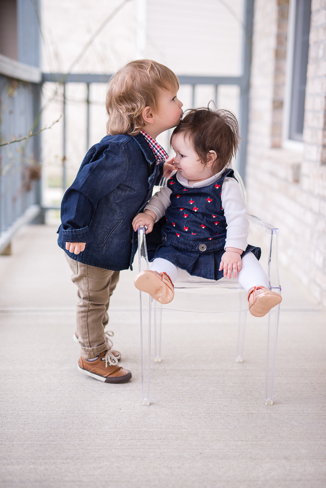 darling brother and sister photo idea and love their little denim kids style