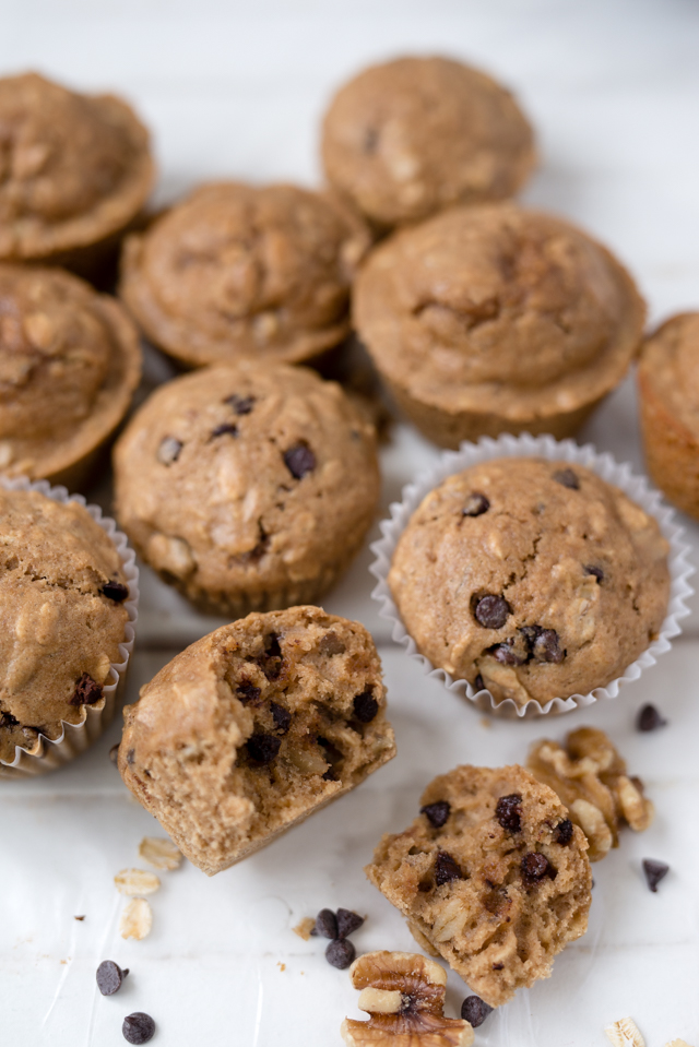 easy and healthy whole wheat chocolate chip walnut muffins made with coconut oil