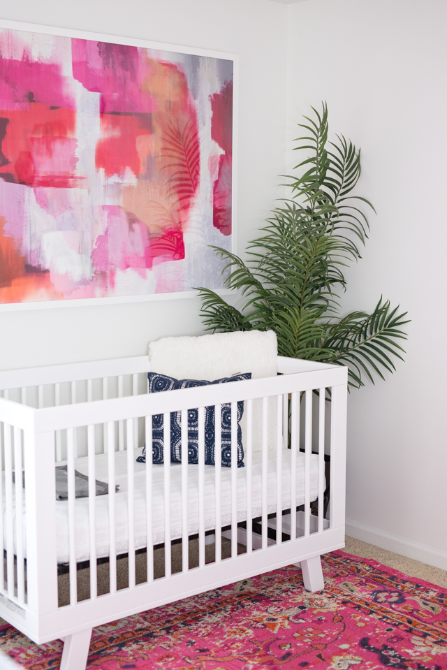 girls mid century modern nursery crib and print