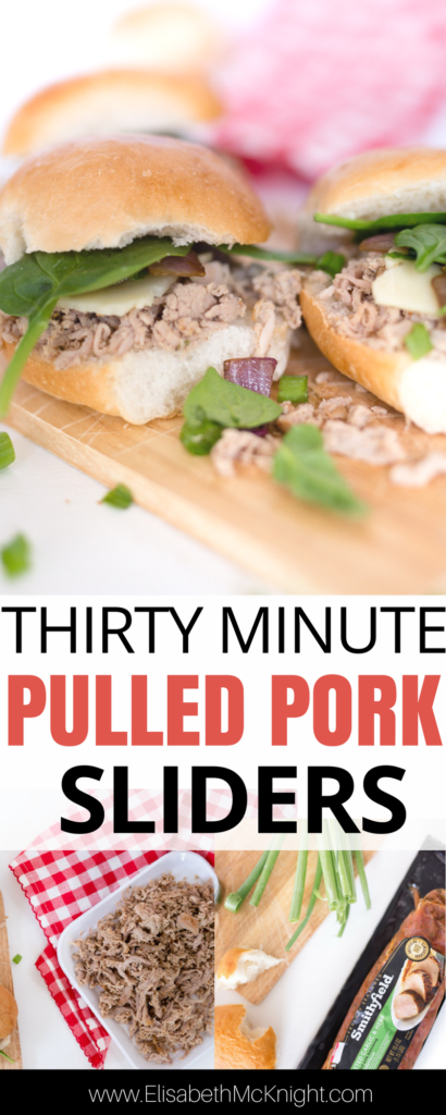 these easy pulled pork sliders take less than 30 minutes thanks to one huge time saving hack that basically shreds the meat for you. they would also be great in a slow cooker! perfect for summer entertaining