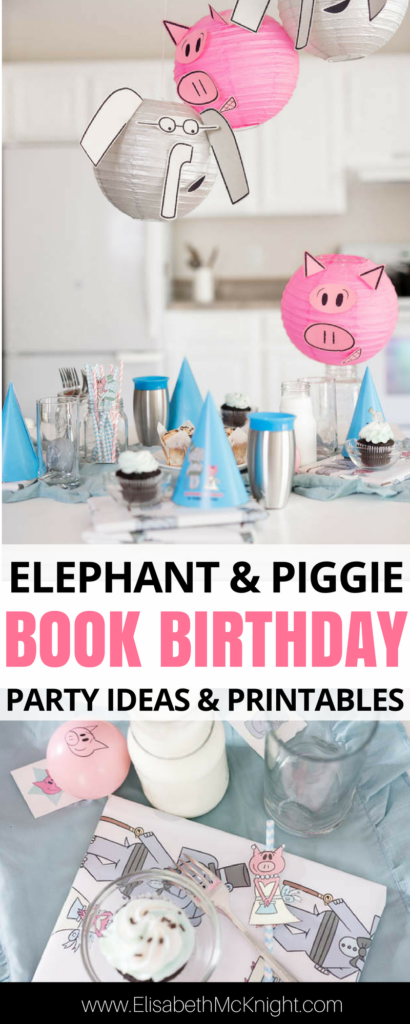 how cute is this book birthday party featuring the Elephant and Piggie books? don't miss the printables for these cute elephant and pig paper lanterns! #MoFun #sponsored