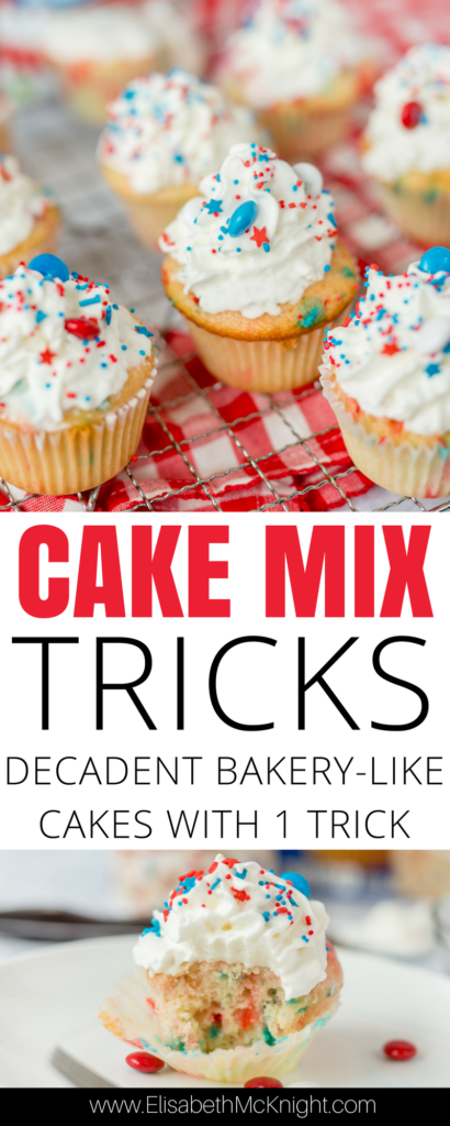 looking for an easy red white and blue dessert for the fourth of july? this recipe will be the perfect patriotic food for entertaining and the easy cake mix update makes them taste like decadent bakery cupcakes!