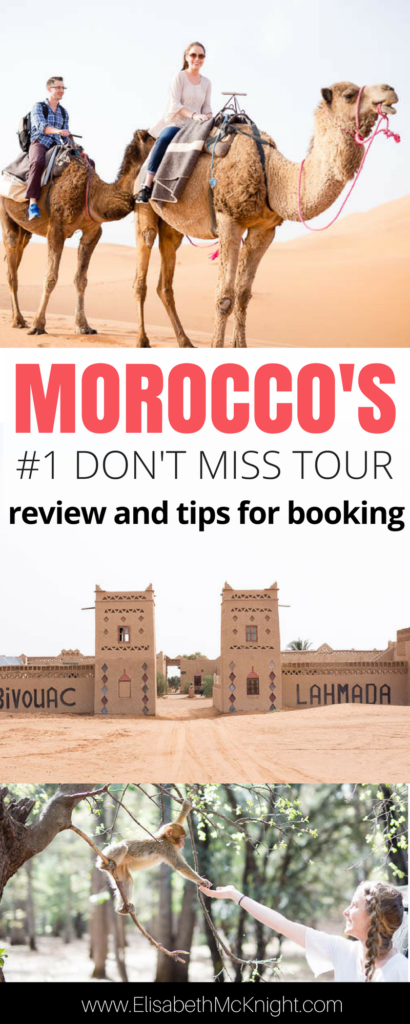 If you're looking for things to do in Morocco, don't miss this 2 day tour and camel trek across Morocco and into the Sahara desert. Feed the monkeys, see the sites, and sleep in a berber tent. Get tips on what to wear and what to bring here: