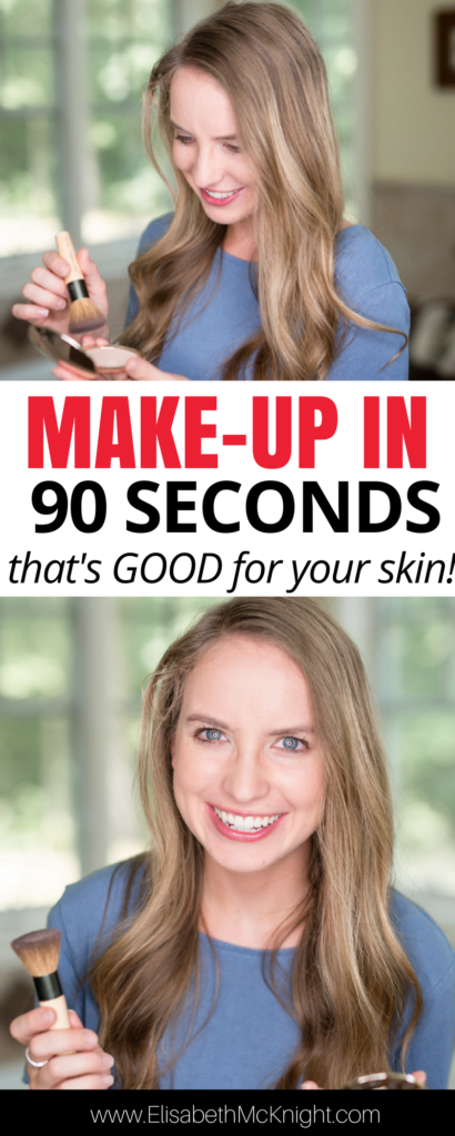 the best foundation for combination skin and a 90 second makeup routine PERFECT for busy moms!