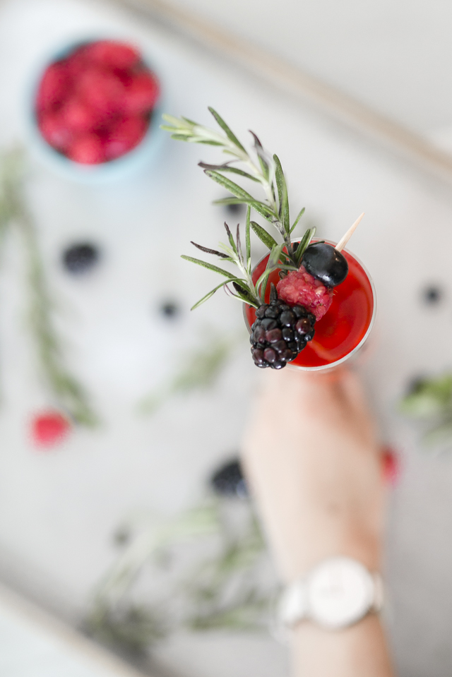 Holiday Mocktail: Triple Berry and Rosemary Spritzer Recipe by Boston lifestyle blogger Elisabeth McKnight