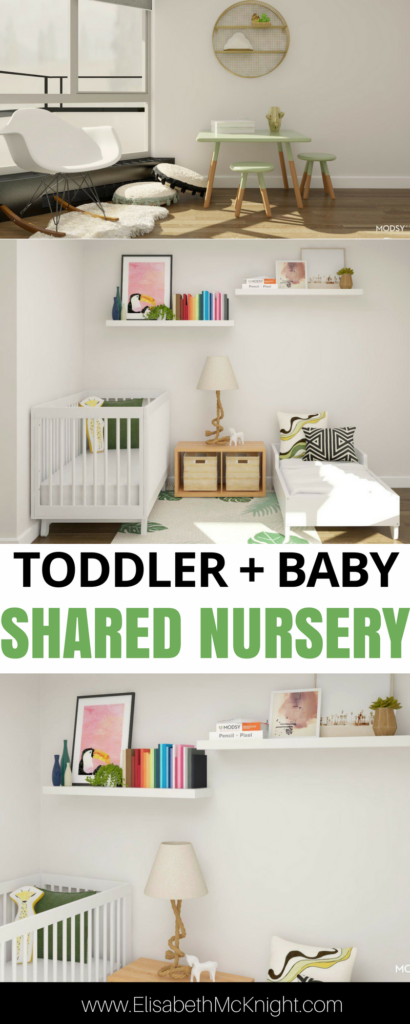 love the tropical vibe in this gender neutral shared toddler and baby nursery room