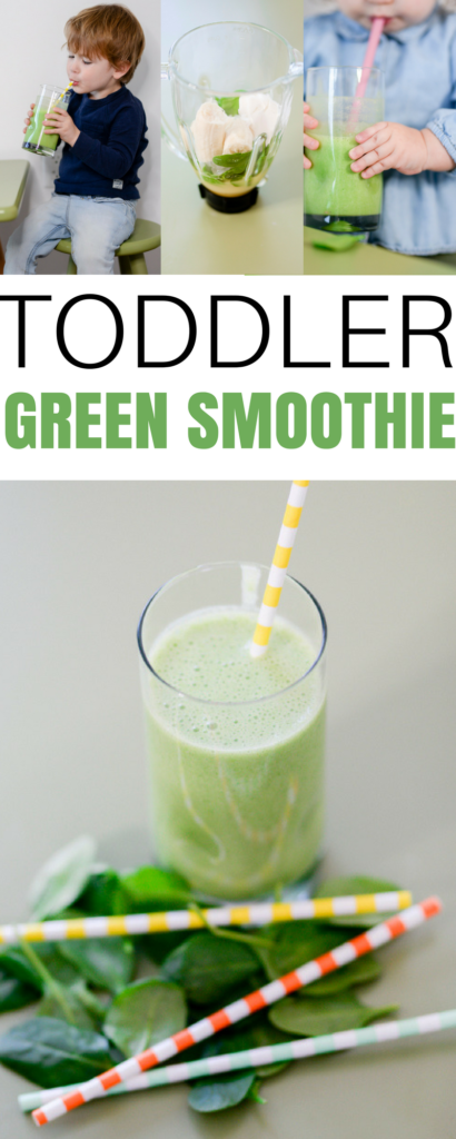 a great toddler green smoothie recipe for picky eaters to get in fruits and vegetables - My toddlers favorite fruit and veggie smoothie recipe by popular Boston lifestyle blogger Elisabeth McKnight