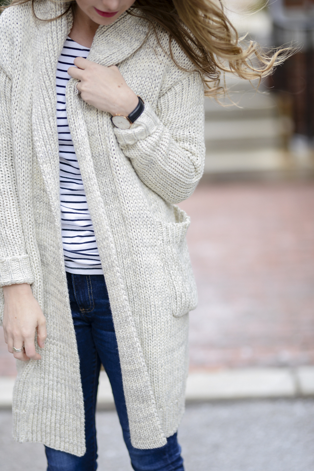 Chunky Cardigans + Stripes by popular Boston style blogger Elisabeth McKnight