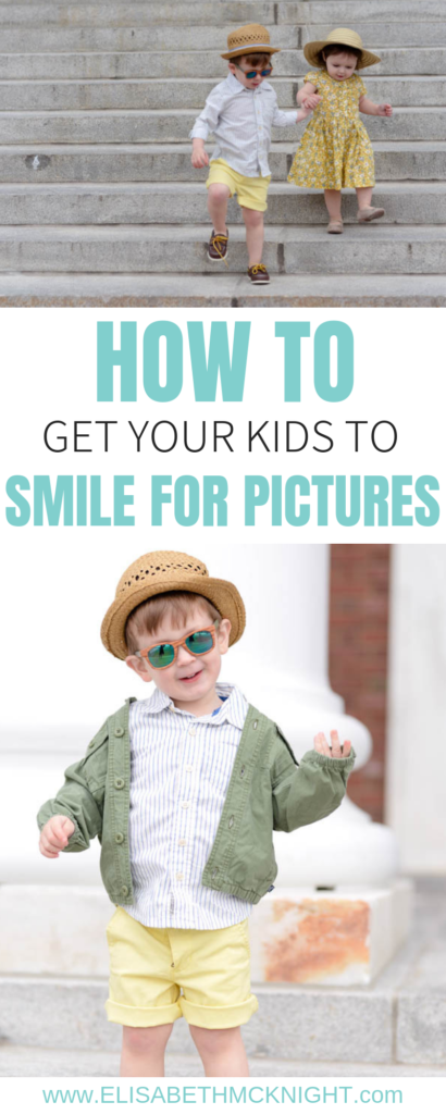 Sharing all the tips on how to get your kids to smile for pictures! #kidpictures #kidpictureideas #siblingpictureideas