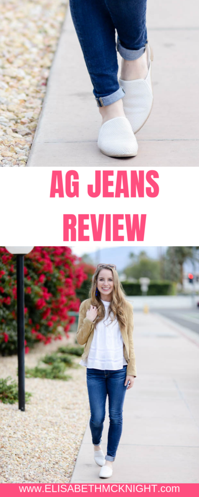 All the details on my favorite AG Jeans. These jeans are so comfortable and versatile, they will go with any outfit. #womensfashion #momiform #jeanstyle