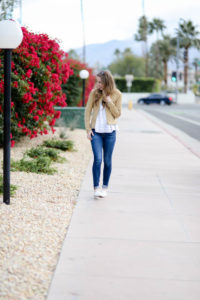 AG jeans with white blouse and suede jacket