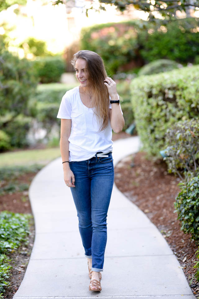 madewell jeans and white pocket tee