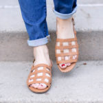 madewell caged leather sandals and rolled skinny jeans