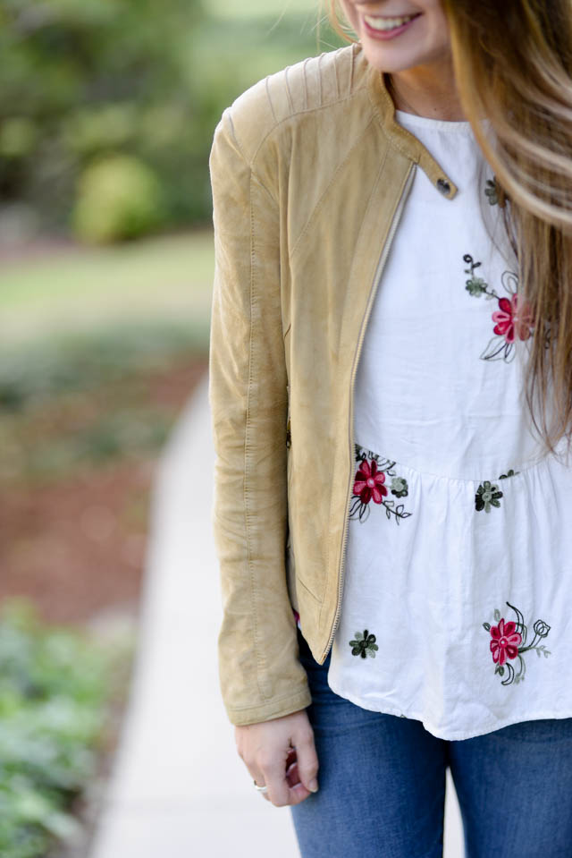 shein floral blouse and suede jacket