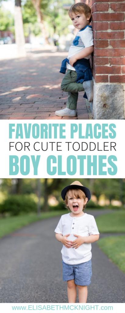 I'm sharing all the best places to find trendy and cute toddler boy clothes. Dressing a boy is a lot more fun than I thought! #toddlerstyle #toddlerboy #boyclothes #toddlerboyfashion