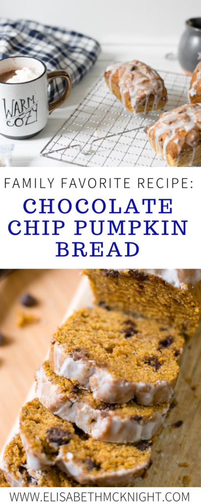 This has been a long time family favorite recipe: Chocolate Chip Pumpkin Bread! It is moist, delicious, and so easy to make. #holidayrecipe #familyfavoriterecipe #easypumpkinbread #holidaybaking