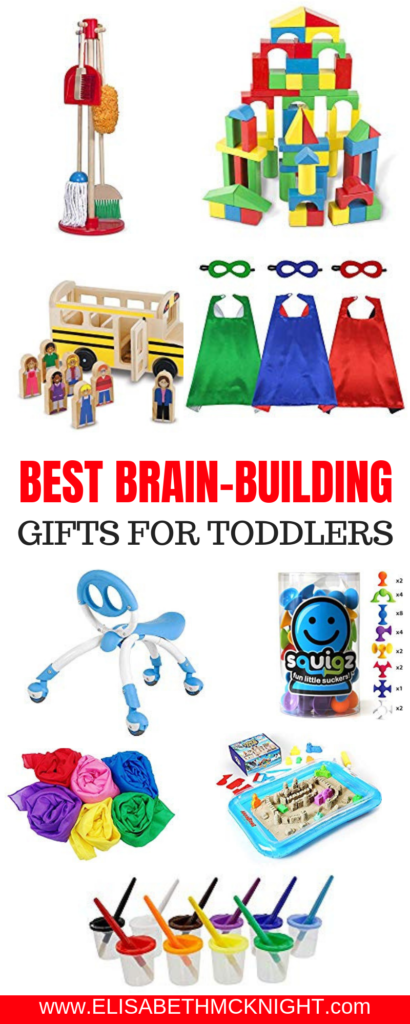 I have compiled a list of 35 brain-building toys for toddlers! These open-ended toys will grow with your child and help them learn to use their imagination! #toddlertoys #toddlergiftguide #openendedtoys #brainbuildingtoys
