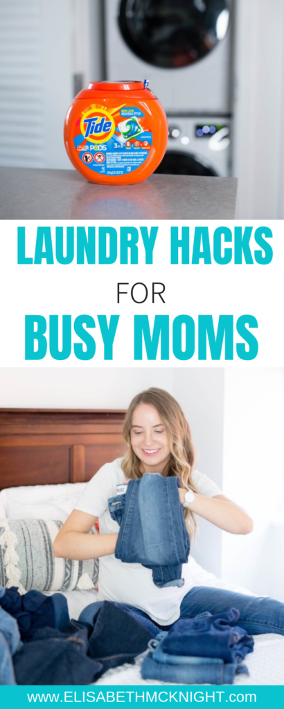 Laundry hacks for busy moms! Sharing all of my tips and tricks to tackle your pile of laundry and get the kids involved. #momhacks #laundrytipsandtricks #tidepower #ad