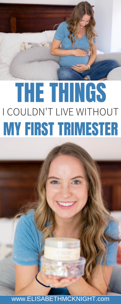 These are the things I could not live without during my first trimester of pregnancy. From the best pregnancy pillow to what helped my morning sickness, it's all here! #firsttrimestersurvivalkit #pregnancymusthaves #pregnancytips