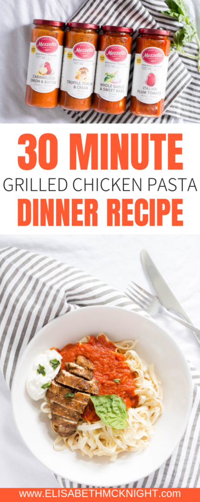 This is an easy go-to 30 minute pasta dinner recipe. @Mezzetta's delicious sauces really make the dish! #LivenUpYourMeal #Mezzetta #MezzettaSauce #KetoLife #Ad