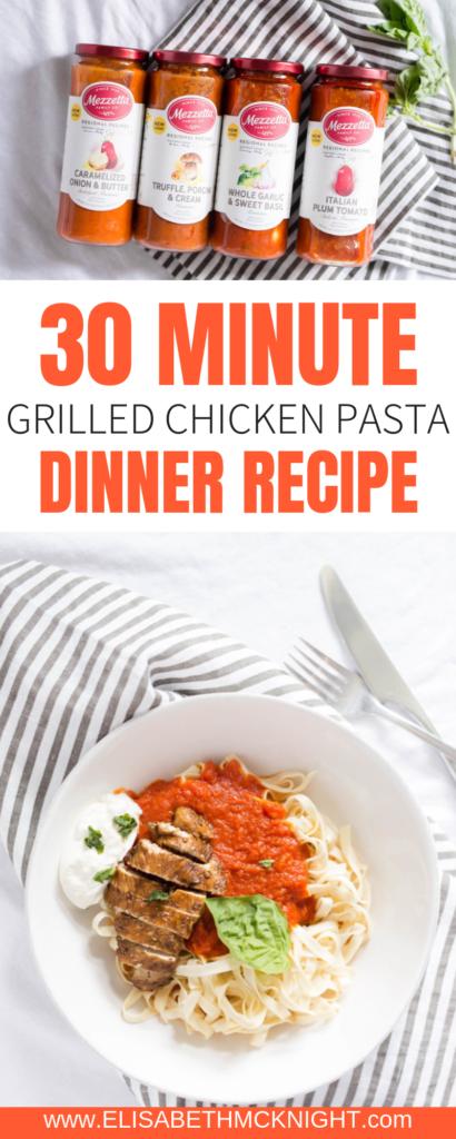 This is an easy go-to 30 minute pasta dinner recipe. @Mezzetta's delicious sauces really make the dish! #LivenUpYourMeal #Mezzetta #MezzettaSauce #KetoLife #Ad