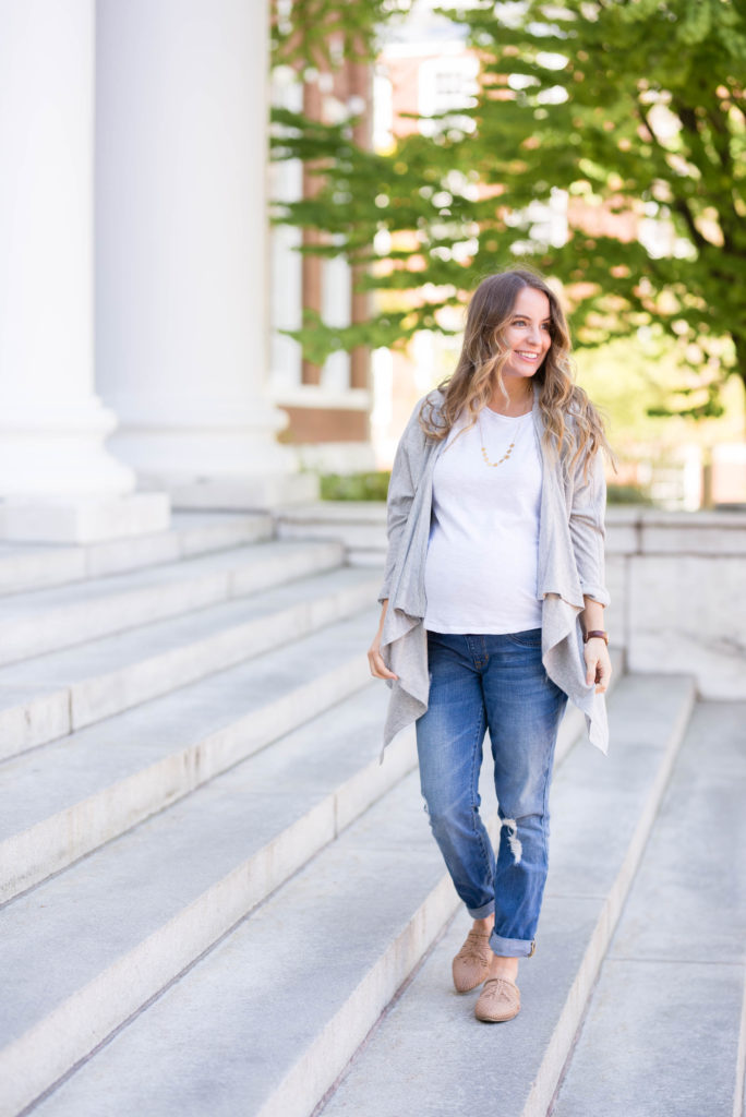 ce10daeff5b7a Today I'm talking about my favorite pair of maternity boyfriend jeans and  why they're so great. To give you an idea, I wore them 4 days last week.