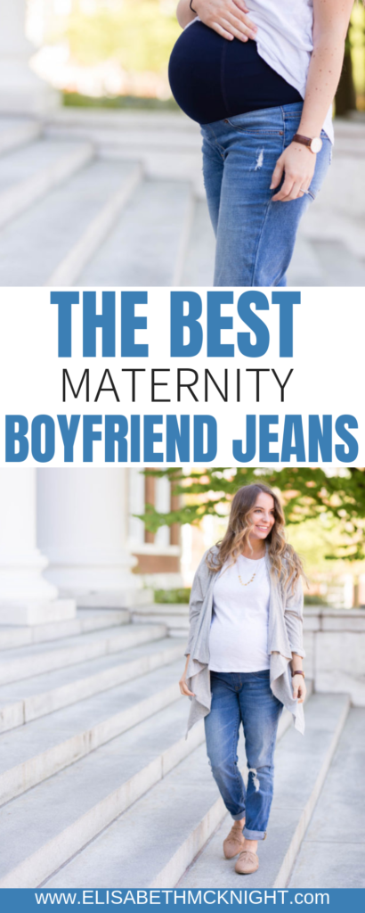 These are the most comfortable maternity boyfriend jeans I have found! #maternitystyle #maternityjeans #maternityclothes #bumpstyle #comfortablejeans #momiform #dressthebump