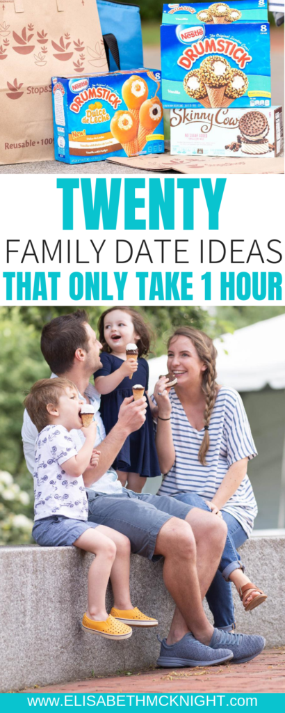 Sharing fun, easy, one hour family date ideas! This is a great way to get in more quality time with your favorite people this summer. @skinnycow #ad #qualitytime #familyfun #familydateideas #summer