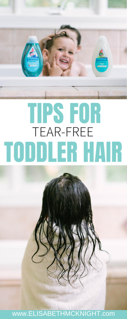 Tips and tricks for tear-free toddler hair brushing! #ad #toddlerhairtips #toddlergirlhairbrushing #haircareforkids