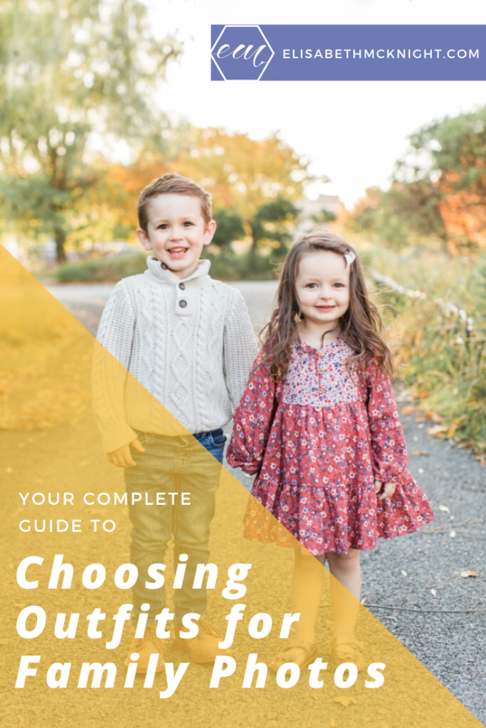 A complete guide on what to wear for family photos. Choosing outfits for family pictures can be tricky, these tips will help you look and feel your best! #familyphotos #whattowearforfamilypictures #familyphotoshoot #kidsstyle