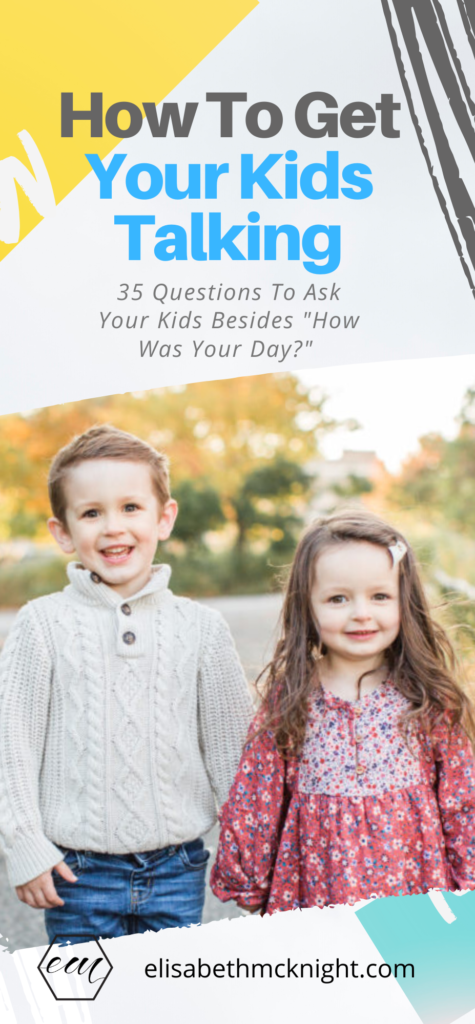 "Want to get your kids talking? Here are 35 questions to ask your kids after school besides ""How was your day?"" Don't forget to grab the printable to put on your fridge or screenshot for your phone. #questionstogetkidstalking #afterschool #momtips #motherhood #parenthood"