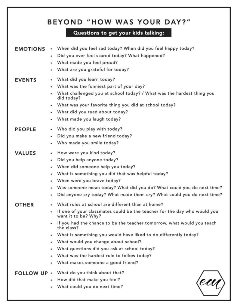 "questions to ask your kids besides ""how was your day?"" printable"