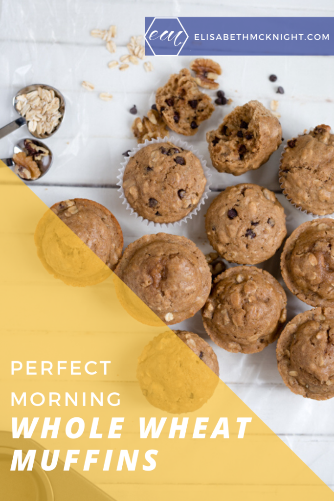 Whole Wheat Chocolate Chip Muffins - Perfect for breakfast on the go! These delicious muffins are kid approved, healthy and delicious! #kidfoodideas #breakfastrecipe #breakfastonthego #perfectmorning #wholewheat