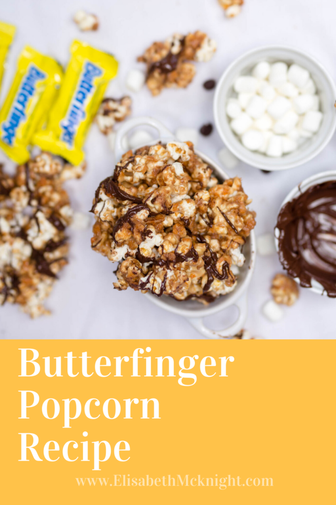 Simple and delicious recipe for Butterfinger Popcorn. #simplerecipe #simpledessert #butterfinger #butterfingerpopcorn